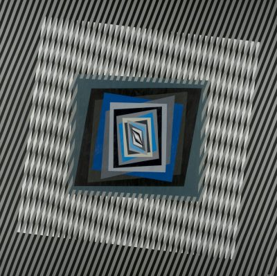 1) Chromatism and optical art, acrylic colours on canvas cm 120 x 120 x 4,5, 2013