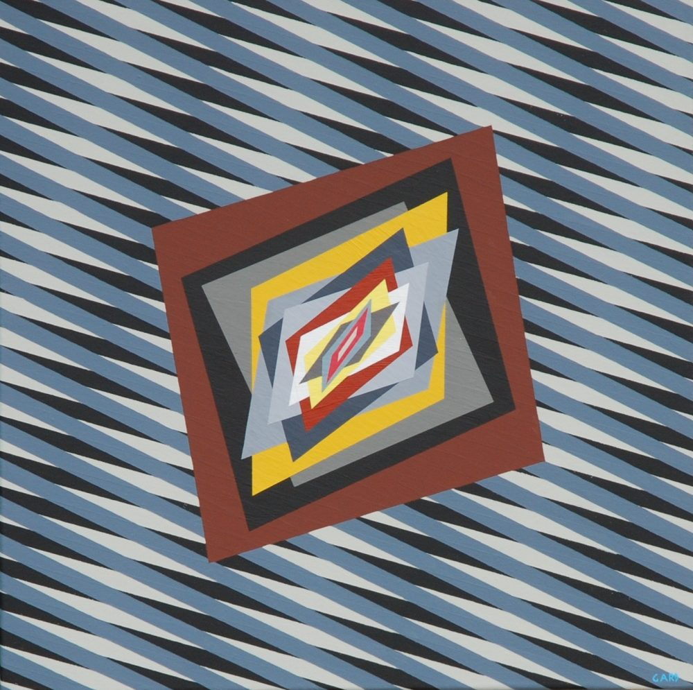 2) Chromatism and optical art 16-50-1, acrylic colours on canvas cm 50 x 50 x 4 2016